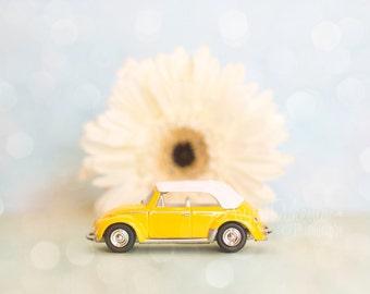 Modern Nursery Art Print - Yellow Beetle and Daisy - Toy Photography - Volkswagen VW Bug yellow blue cream green baby girl