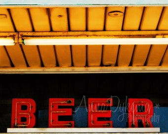 Midcentury Modern Bar Decor - Beer - vintage neon sign photography red black gold aqua - gift for him - man cave art