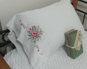 Vintage Hand Embroidered Red Floral Single Cotton Blend Pillowcase