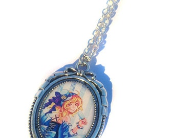 Steampunk Necklace - Blue girl - Silver Pendant and Chain - 18 x 25 mm oval Sized