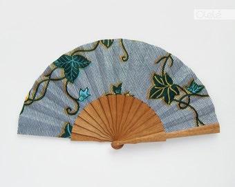 Ankara hand fan with case - Green vines
