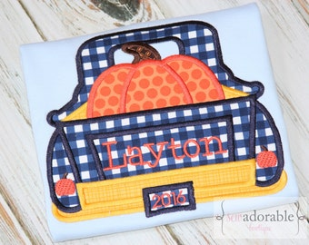 Boy's Personalized Pumpkin Truck Applique Tee. Boys Fall T-Shirt. Halloween Shirt. Haulin' Pumpkins Tee. Gingham and Polka Dots