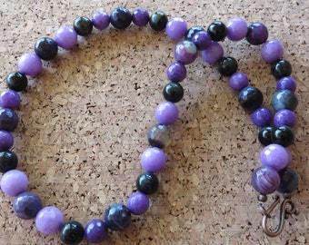 Purple Agate Purple Jade And Blue Tigers Eye Beaded Necklace