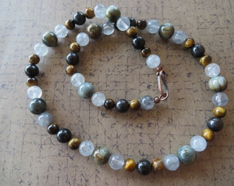 Eagle Eye Stone with Blue and Brown Tigers Eye and Cloudy Quartz Beaded Necklace