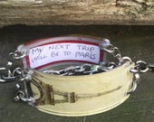 Bracelet by FortuneKeeper - Eiffel Tower Sepia Adjustable Bracelet holds your fortunes, dreams, goals and special messages