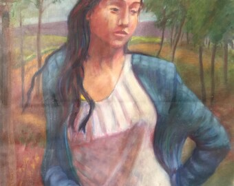 Large Mid Century Oil Painting By George Rhoads   French Girl In Blue