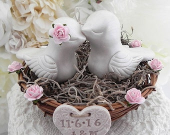 Rustic Love Bird Wedding Cake Topper, Pearl and Blush Pink, Love Birds in Nest , Personalized Heart