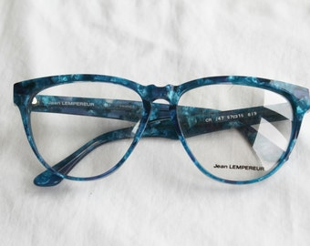 Nerd Chic, French Vintage Glasses Frames in Electric Blue Resin
