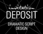 """Elegant Invitations, Wedding Invitation Deposit, Modern Invitation, """"Dramatic Script"""" Invitation, Build-Your-Invite Collection -DEPOSIT"""