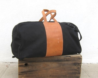 80s Giant Duffle Black Canvas Tan Leather Travel Overnight Carryon Weekender Bag w/Strap
