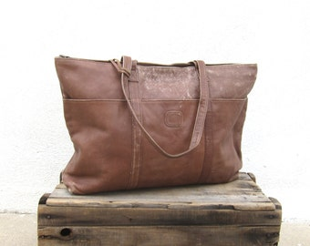 Giant Distressed Brown Leather Shoulder Tote Bag