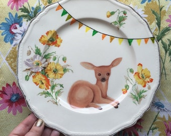 Vintage Deer with Yellow Flowers Large Vintage illustrated Plate