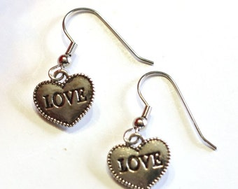 1 pair Handmade Silver Love Heart Charm Earrings - womens jewelry clip on available