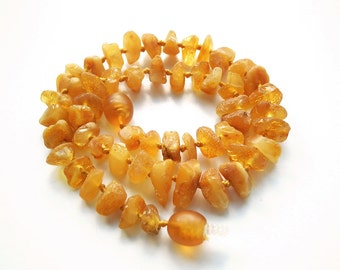 "11"" Natural Baltic Amber child necklace, amber teething neclace, raw beads, honey color amber necklace, free shape beads"