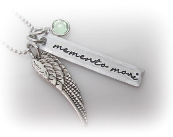 Memento Mori Necklace Memento Mori Jewelry Latin Quote Jewelry Hand Stamped Memento Mori Wing Necklace With Birthstone