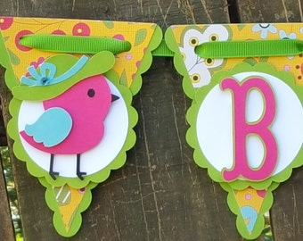 Fancy Bird Scallop Pennant Baby Banner READY TO SHIP
