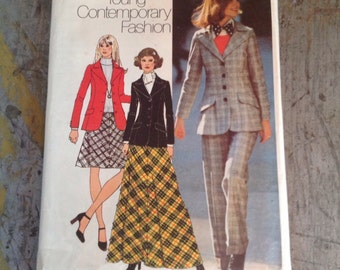Vintage Simplicity Sewing Pattern 5212 Misses' Size 14 Blazer Skirt Pants