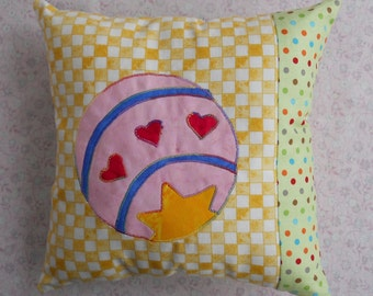 Toy Ball Pillow Yellow Checkered Pillow 10 x 10 Pillow Childs Pillow Big Star Ball Pillow Hearts Pillow Green Orange Dots Pillow Pink Red