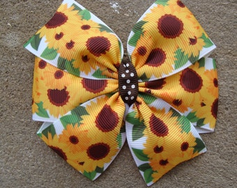 Sunflower hair bow sunflower hair clip Large Pinwheel Hair Bow large hair bow flower hair bow summer hair bow fall hair bow