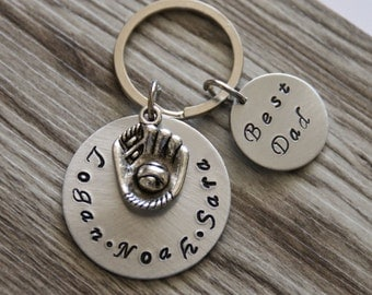 Personalized Father's Day Gift from Kids, Keychain, Key Fob, Customized Keychain, Personalized Baseball Mitt Keychain, Best Dad Key Chain