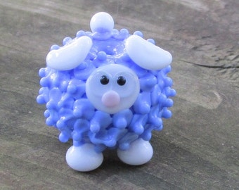 Blue and White Sheep Lamb Ewe Lampwork Handmade SRA OOAK Glass Bead NLC Beads leteam