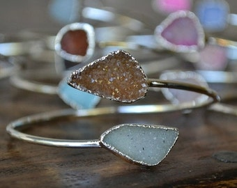 XMAS IN JULY Lux Divine Druzy Wrap Gemstone Bracelet /// Silver
