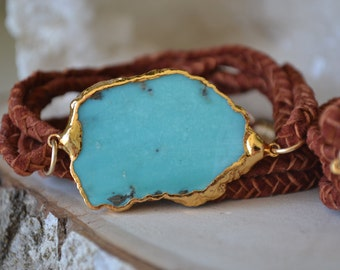 REVIVAL COLLECTION /// Turquoise & braided leather Bracelet