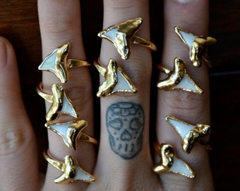 ON SALE Double Shark Tooth Ring /// Shark Tooth Wrap /// Gold