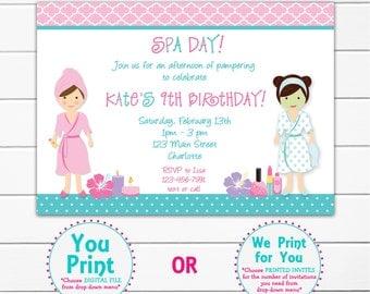 Spa Birthday Party Invitation -- printable invitation - spa girls --  you print or I print