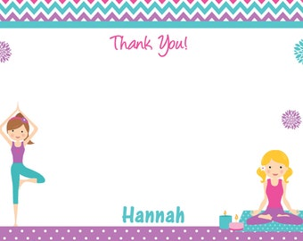 Yoga  Birthday Party Thank you note Yoga Party
