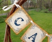 Wedding Card Banner Vintage Style Rustic  Cards Sign Garland