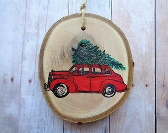 Rustic Christmas Ornament Woodland Tree Branch Slice Country Farmhouse Christmas Vintage Car with Tree
