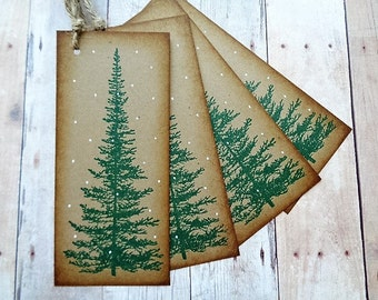 Pine Tree Gift Tags Rustic Christmas Woodland Spruce