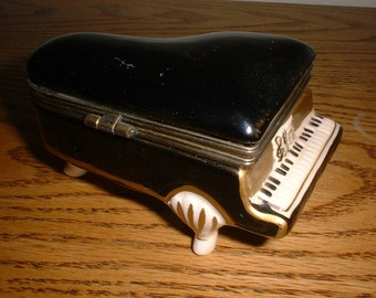 Vintage PIANO Treasure Box Porcelain Detailed Musician Gift