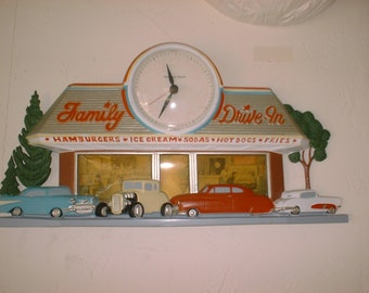 Vintage Wall CLOCK 50s DriveIn Kitch Cars Nostalgia