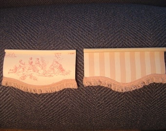 Dollhouse Window Shade / Blind Miniature / Many Colors Toile or Stripe 1:12 Scale