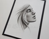 Feeling Free Girl Face Native Indian Woman Feather Dreaming Emo Art Print Zindy Nielsen