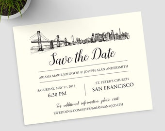 San Francisco Skyline ivory Save the Date SAMPLE ONLY