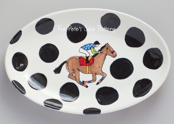 Hand painted, custom, ceramic, derby, Horse racing oval serving platter