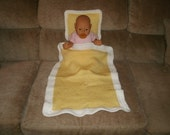 Knit Yellow & White Doll Blanket And Pillow With Crochet Trim