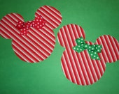 2 Iron On Christmas Applique Candy Cane Stripe Christmas Holiday MICKEY Or MINNIE MOUSE With Polka Dot Bows...Peppermint Stripe