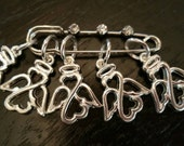 Angels Stitch Markers Set of 5 Snag Free Knitting 2 inch Diamante Stitch Holder WIP Progress Place Keepers Knitters Friend Guardian Angel