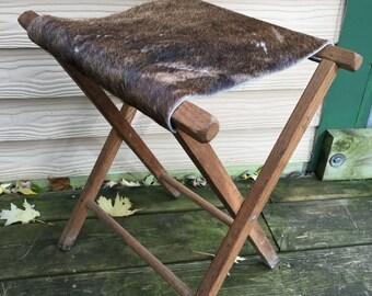 Vintage Camp Stool Cowhide Primitive Wooden Rare