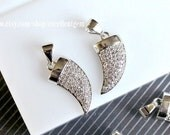 Pave diamond pendant Pave CZ DIAMOND with Rhodium plated brass pendant, Small Ox horn pendant