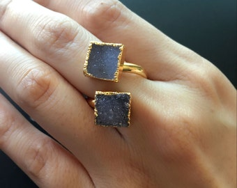 Druzy ring // Druzy jewelry // adjustable ring // Double stone Ring // gold druzy ring // Druzy Geode Ring // multi color ring - R- 83601