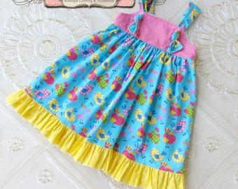 Girls Knot Dress, Summer Knot Dress, Toddler Knot Dress, Girls Knot Dress, Spring Knot Dress, Bird Dress