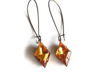 Yellow topaz earrings Art Deco earrings Golden topaz Art Deco jewelry November birthstone Bridesmaid earring Drop earring Vintage  earring