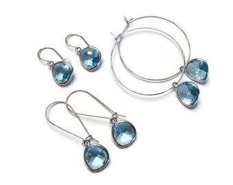 Blue earrings Aquamarine earrings Blue topaz earrings Blue glass earrings Blue dangle earrings Blue drop earrings Bridesmaid earrings Gift