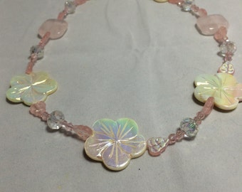 Mother of pearl Necklace with AB finish crystals and czech glass