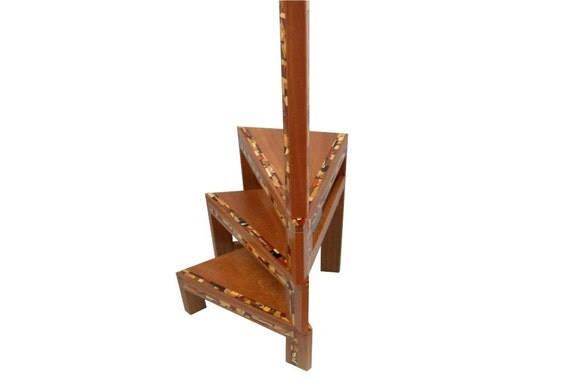 Library Stairs - Unique End Table - Wood and Mosaics - Decorative Stool - No Stains or Dyes Used